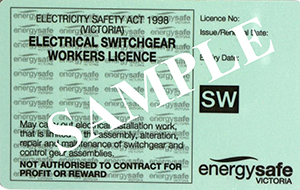 Switchgear Worker's sample licence