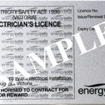 Electrician's sample licence