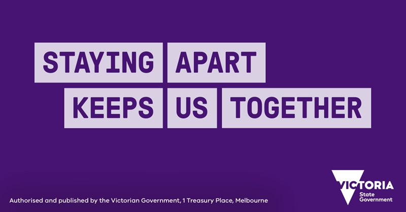 Staying apart keeps us together - Victorian Government graphic