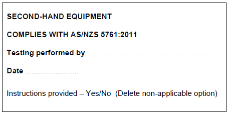 Second Hand equipment compliance label